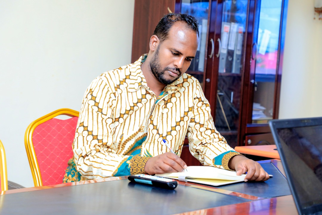 Zakariye Mohamed Ahmed, Assistant Dean, Borama Campus, Amoud University School of Postgraduate Studies and Research (AUSPGSR), following events closely, during the online Research Proposal Viva Voce for second year Masters Degree Students held at AUSPGSR, Borama Campus, Tuesday, June 2020.