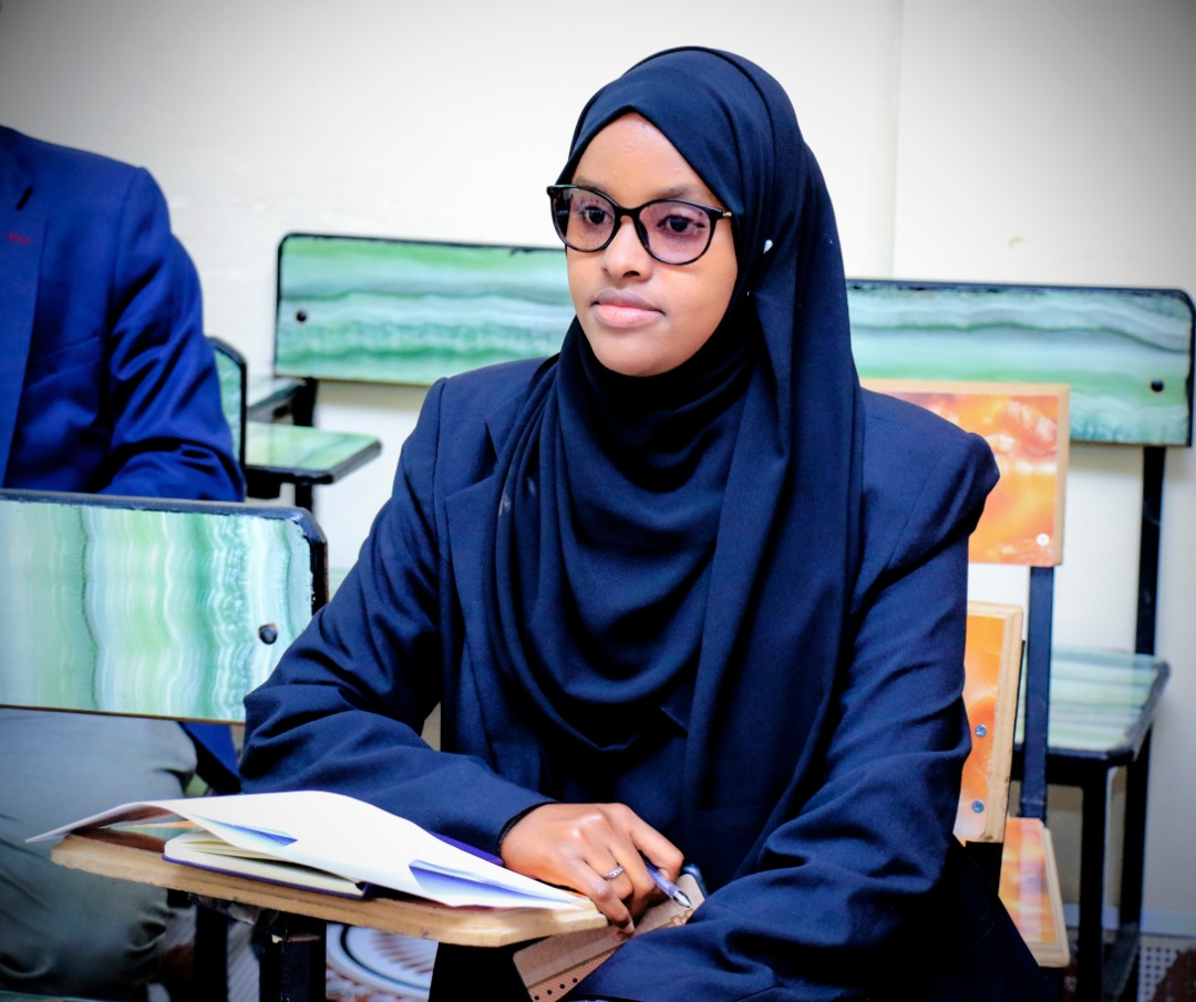 A student keenly listening to questions from the panelists, at Amoud University School of Postgraduate Studies and Research (ASPGSR), during the Research Proposal Viva Voce conducted On Thursday, January 24th, 2020 at Amoud University School of Postgraduate Studies and Research (ASPGSR), Hargeisa Campus